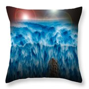 Ocean Falling Into Abyss Throw Pillow