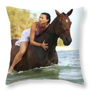 Ocean Horseback Rider Throw Pillow