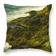 Ocean Pounded Rock  Throw Pillow