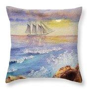 Ocean Waves And Sailing Ship Throw Pillow