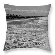 Oceanside In Black And White Throw Pillow