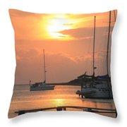 Ocracoke Island Harbor Sunset Throw Pillow