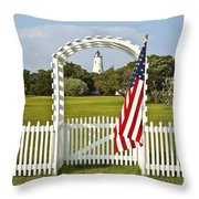 Ocracoke Lighthouse July 4th Throw Pillow by Bill Swindaman