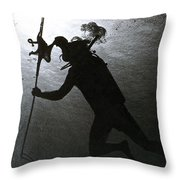 Octopus And Diver Throw Pillow