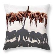 Octopus Drying Throw Pillow