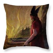 Odin Leaves As The Flames Rise Throw Pillow by H Hendrich