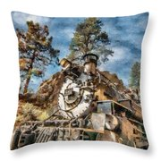 Of Mountain And Machine Throw Pillow