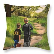 Off To The Sand Pit Throw Pillow