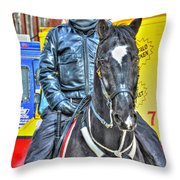 Officer And Black Horse Throw Pillow