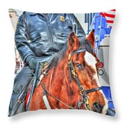 Officer On Brown Horse Throw Pillow