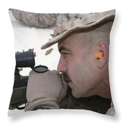 Officer Sights In On The Target Throw Pillow