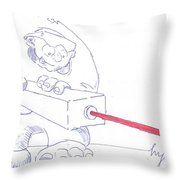 Ogre With Laser Cartoon Throw Pillow