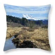 Ohop Valley View Of Rainier Throw Pillow