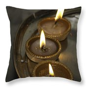 Oil Lamps Kept In A Plate As Part Of Diwali Celebrations Throw Pillow