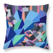 Blue Barge Through The Purple City Throw Pillow