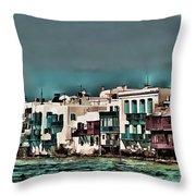Oill Paint Effect Mykonos Greece Throw Pillow