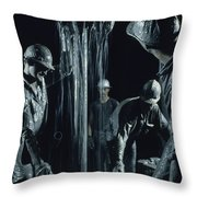 Oilmen Covered In Mud Pull Up A Drill Throw Pillow