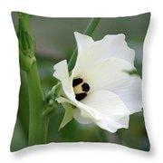 Okra Flower Throw Pillow