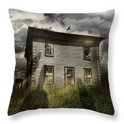 Old Ababdoned House With Flying Ghosts Throw Pillow by Sandra Cunningham
