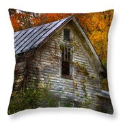 Old Abandoned House In Fall Throw Pillow