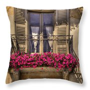 Old Balcony With Red Flowers Throw Pillow by Mats Silvan