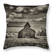 Old Barn After The Storm Black And White Throw Pillow