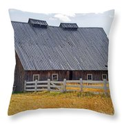 Old Barn And Fence Throw Pillow