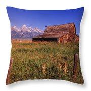 Old Barn, Grand Teton National Park Throw Pillow