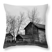 Old Barn In Monochrome Throw Pillow