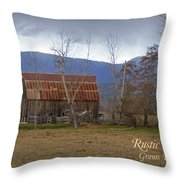 Old Barn In Southern Oregon With Text Throw Pillow