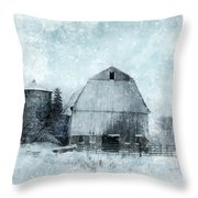 Old Barn In Winter Snow Throw Pillow