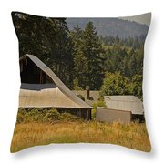 Old Barn On A Hot Summer Day In The Applegate Throw Pillow