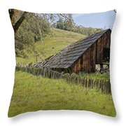 Old Barn On Highway 20 Throw Pillow
