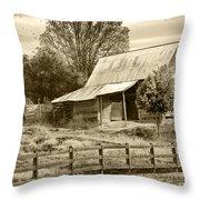 Old Barn Sepia Tint Throw Pillow
