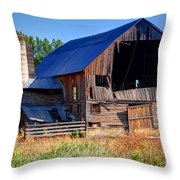 Old Barn With Concrete Grain Silo - Utah Throw Pillow