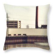 Old Bergstom Smokestack Throw Pillow