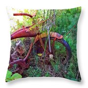 Old Bike And Weeds Throw Pillow