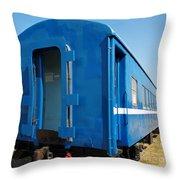 Old Blue Train Car Throw Pillow