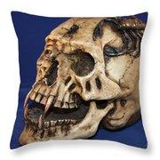 Old Bone's Skull On Blue Cloth Throw Pillow