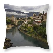 Old Bridge Of Mostar Throw Pillow by Ayhan Altun