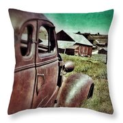 Old Car And Ghost Town Throw Pillow