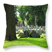 Old Cemetery In Boston Throw Pillow