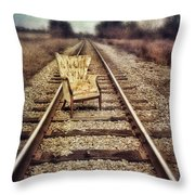 Old Chair On Railroad Tracks Throw Pillow