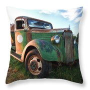 Old Chevy Tanker Truck Throw Pillow
