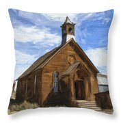 Old Church At Bodie Throw Pillow