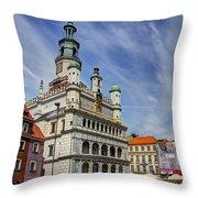 Old City Hall Clock Tower - Posnan Poland Throw Pillow