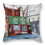 Old Corner Store Montreal By Prankearts Throw Pillow