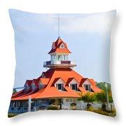 Old Coronado Boat House Throw Pillow