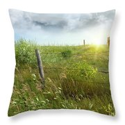 Old Country Fence On The Prairies Throw Pillow