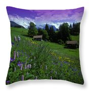 Old Couple By Mountainside Cottages Throw Pillow